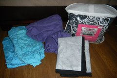 Twin / XL Twin Black White Floral Damask Bedding Set + Purple & Teal Sheets DORM in Kingwood, Texas
