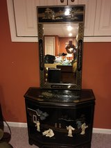 Black Lacquer Mother of Pearl Motif Sideboard with mirror in Naperville, Illinois