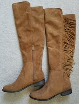Womens Knee Boots Tan Leather w/Fringe New Size 8 in Yorkville, Illinois