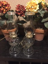 Cabin Ready antique matching oil lamps converted to electric in Lockport, Illinois