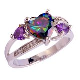 New - Rainbow Topaz and Amethyst Heart Ring - Size 6 in Alamogordo, New Mexico