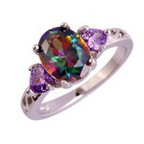 New - Rainbow Topaz and Amethyst Hearts Ring - Sizes 8 and 9 in Alamogordo, New Mexico