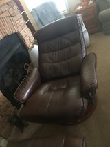 Recliner and ottoman leather chocolate brown in Wilmington, North Carolina
