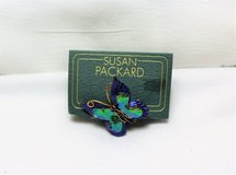 NWT Susan Packard Butterfly Insect Purple Blue Green Gold Tone Brooch Lapel Pin in Kingwood, Texas