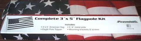 ONLY $1 New 3' x 5' Premium Flag Pole Kit Includes Flag, Pole, Eagle Topper, Brackets & Screws in Joliet, Illinois