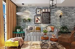 New faux rustic brick removable wallpaper in Okinawa, Japan