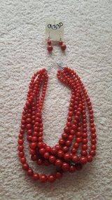 Red bead necklace and earrings in Aurora, Illinois