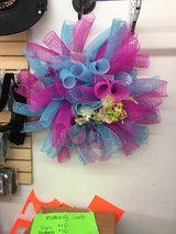 Pink and blue wreath in Fort Bragg, North Carolina
