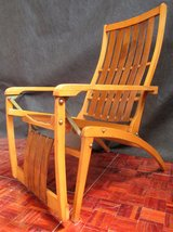Mid Century Solid Wood Recling Deck Chair Like New in Ramstein, Germany