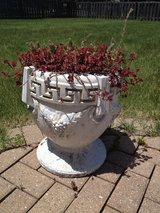 2 Lovely Roman Greek vintage concrete stone urns planters! shabby, chippy, rustic, grape vines!! in Glendale Heights, Illinois