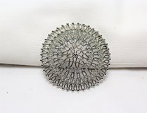 Vintage Signed Sarah Coventry Silver Tone Round Carved Filigree Brooch Lapel Pin in Kingwood, Texas