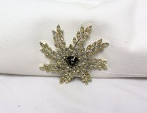 Vintage Signed Sarah Coventry Flower Yellow Gem Brown Silver Tone Brooch Pin in Houston, Texas
