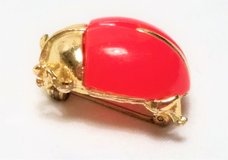 "Vintage Signed Sarah Coventry BUG-A-BOO Red Beetle Gold Tone Brooch Lapel Pin 1"" in Houston, Texas"
