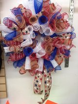 Red white and blue with burlap wreath in Fort Bragg, North Carolina