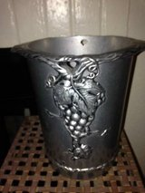 Cast Aluminum or Pewter Round Wine Chiller Ice Bucket with embosed in Travis AFB, California