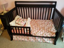 Black 4 in 1 convertible crib with mattress in Oswego, Illinois