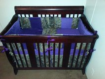 Purple & Realtree Camo Crib Set in Baytown, Texas
