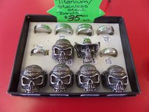 Titanium steel Harley skull rings reduced from $15 in Cherry Point, North Carolina