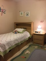 Twin size bedroom set: bed, night stand and dresser in Naperville, Illinois