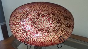 Pier one imports red decorative bowl plate in Aurora, Illinois