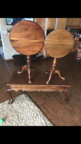 1920 tilt top tables & matching coffee table in Yucca Valley, California