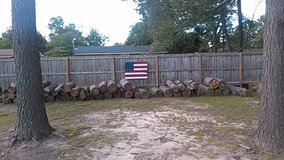 Rustic wooden hand painted American Flags in Fort Bragg, North Carolina