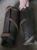 Vintage Leather WWI Era Shin Calf Guards in Lockport, Illinois