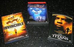 3 Disney Sports DVD Movie Lot Invincible / Miracle / Remember the Titans Movies in Kingwood, Texas