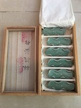 Celadon Green Korean Ceramic Pottery Porcelain  Chopstick & Spoon Rests Gift Set in Okinawa, Japan