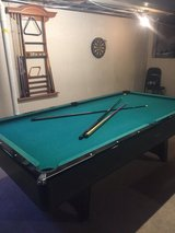 Slate oak pool table 8 foot plus 8 cues, balls, accessories in Naperville, Illinois
