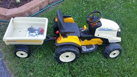 Peg Perego Battery opetated kid's CUB CADET MOWER w/ Trailer-  Newer Battery in Naperville, Illinois