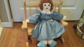 Hand Made/Sewn doll  with Handmade Wooden Rocking Chair/Bench in Aurora, Illinois