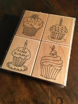 Birthday Cupcakes RUBBER STAMPS - NEW in Okinawa, Japan