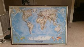 National Geographic laminated world map in Naperville, Illinois
