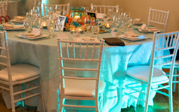 Wedding Table Overlays Aqua Color With Wave Look in Bartlett, Illinois
