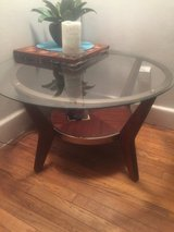TABLE Round Glass,Wood,Brass in Hampton, Virginia