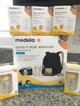 Medela Pump In Style Advanced Backpack + Bottles & Milk Bags. *NEVER OPENED* in Travis AFB, California