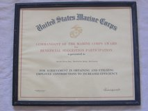 1968 USMC 29 PALMS BASE AWARD Commandant Signed in 29 Palms, California