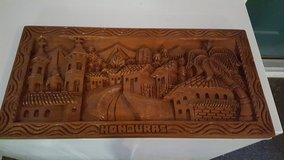 Carved wood picture of Honduras in Fort Rucker, Alabama