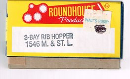HO Scale Roundhouse Products KIT for a 3 Bay Rib Side Hopper pained for the M. &. St. L.  # 66599 in Joliet, Illinois