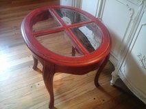 Country french red oval table in Naperville, Illinois