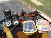 R/c frame, tires and brand new parts in Plainfield, Illinois
