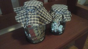 Antique Blue Ball Mason Jars With Vintage Buttons & Sewing Items made/Assembled by Crafter in Naperville, Illinois