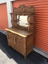 Antique Oak Heavy Carved Sideboard Buffet/Beveled Mirror in Cherry Point, North Carolina