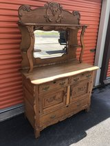 Oak Heavy Carved Sideboard Buffet/Beveled Mirror in Cherry Point, North Carolina