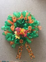 green/Orange fall wreath in Fort Bragg, North Carolina