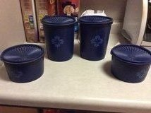 Blue Tupperware canisters, hardly used. in Glendale Heights, Illinois