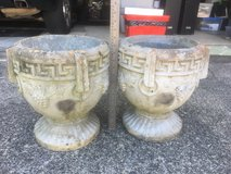 """Set of Cement - Concrete Planters with Grape Design 13"""" high/9.5"""" wide in Fort Benning, Georgia"""