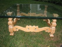 french country glass and wood coffee table in Naperville, Illinois
