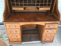 Solid oak roll top desk in Camp Lejeune, North Carolina